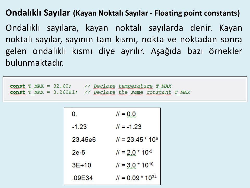Ondalıklı Sayılar (Kayan Noktalı Sayılar - Floating point constants) Ondalıklı sayılara, kayan noktalı sayılarda denir. Kayan noktalı sayılar, sayının