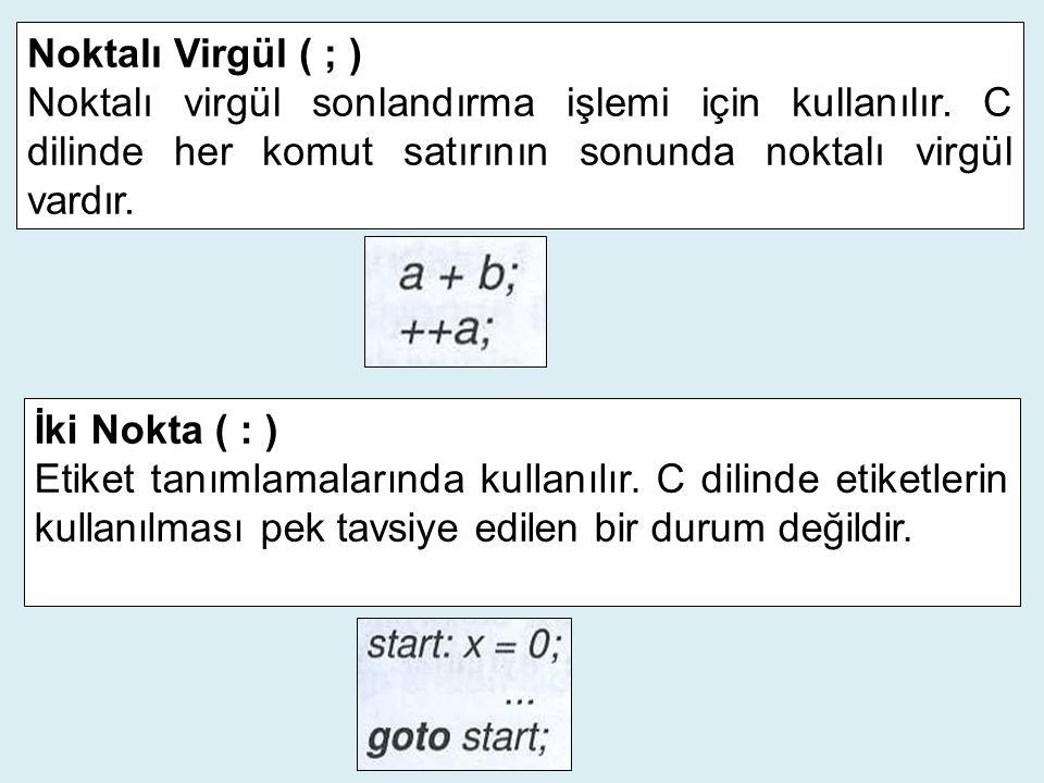 Noktalı Virgül ( ; ) Noktalı virgül sonlandırma işlemi için kullanılır. C dilinde her komut satırının sonunda noktalı virgül vardır. İki Nokta ( : ) E