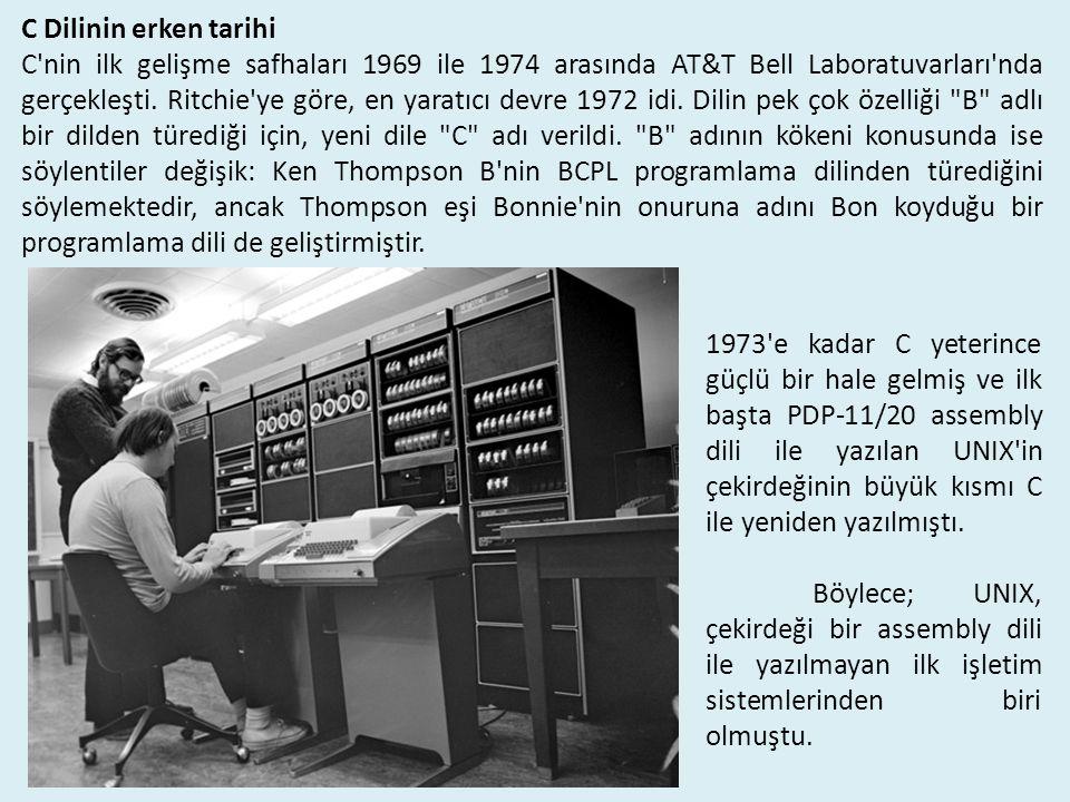 1973 e kadar C yeterince güçlü bir hale gelmiş ve ilk başta PDP-11/20 assembly dili ile yazılan UNIX in çekirdeğinin büyük kısmı C ile yeniden yazılmıştı.