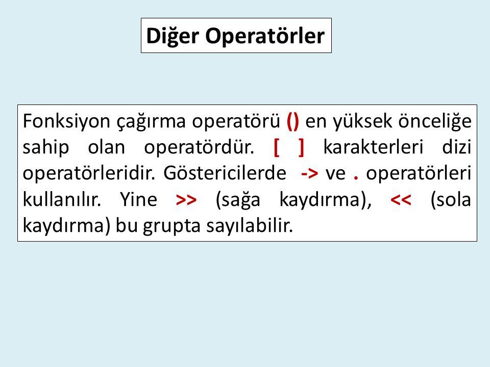 Fonksiyon çağırma operatörü () en yüksek önceliğe sahip olan operatördür. [ ] karakterleri dizi operatörleridir. Göstericilerde -> ve. operatörleri ku