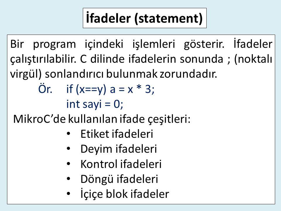 Bir program içindeki işlemleri gösterir. İfadeler çalıştırılabilir. C dilinde ifadelerin sonunda ; (noktalı virgül) sonlandırıcı bulunmak zorundadır.