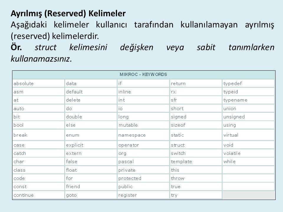 Ayrılmış (Reserved) Kelimeler Aşağıdaki kelimeler kullanıcı tarafından kullanılamayan ayrılmış (reserved) kelimelerdir. Ör. struct kelimesini değişken