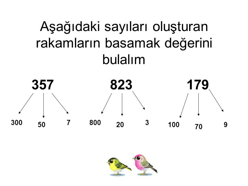 Aşağıdaki sayıları oluşturan rakamların basamak değerini bulalım 357 823 179 300 50 7800 20 3 100 70 9