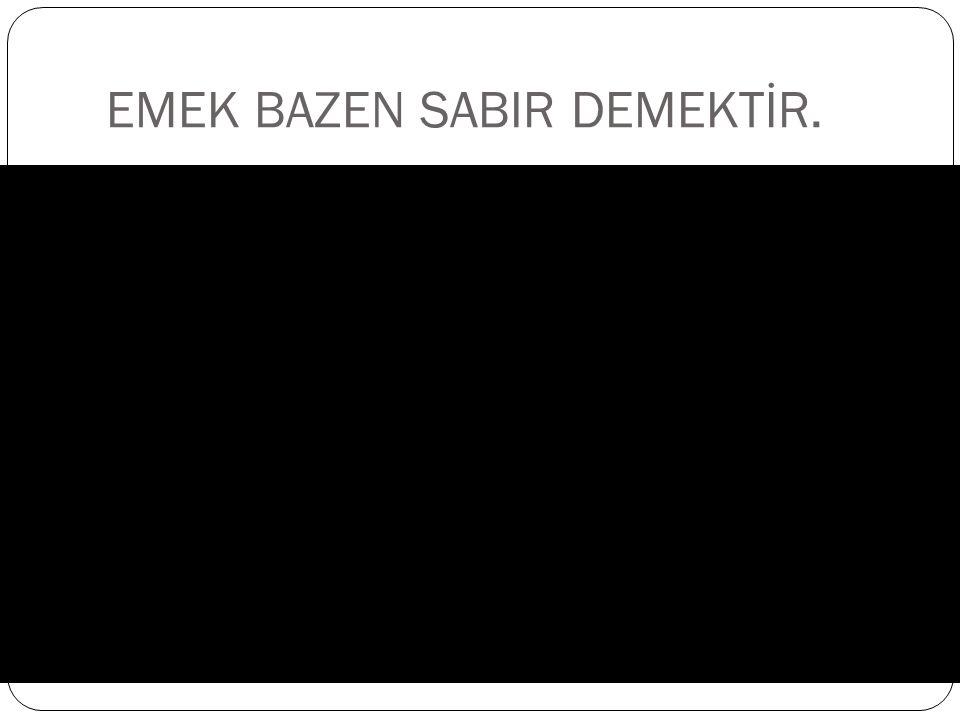 EMEK BAZEN SABIR DEMEKTİR.