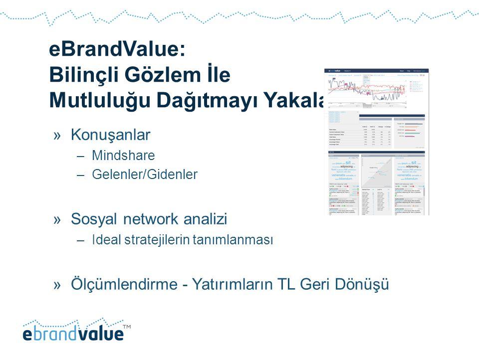 eBrandValue: Bilinçli Gözlem İle Mutluluğu Dağıtmayı Yakalamak »Konuşanlar –Mindshare –Gelenler/Gidenler »Sosyal network analizi –Ideal stratejilerin tanımlanması »Ölçümlendirme - Yatırımların TL Geri Dönüşü