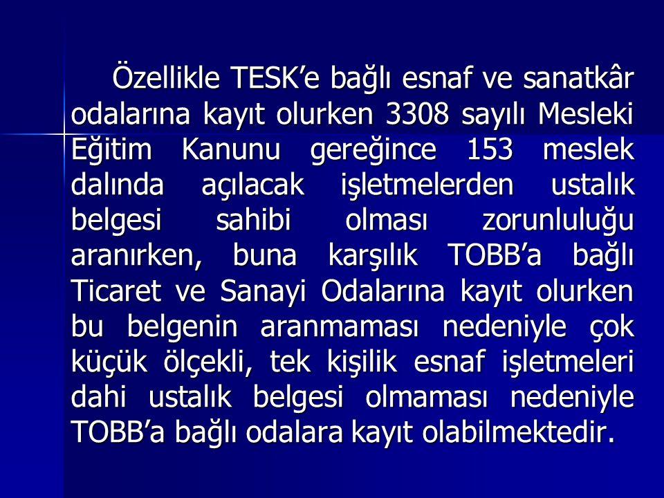 Özellikle TESK'e bağlı esnaf ve sanatkâr odalarına kayıt olurken 3308 sayılı Mesleki Eğitim Kanunu gereğince 153 meslek dalında açılacak işletmelerden