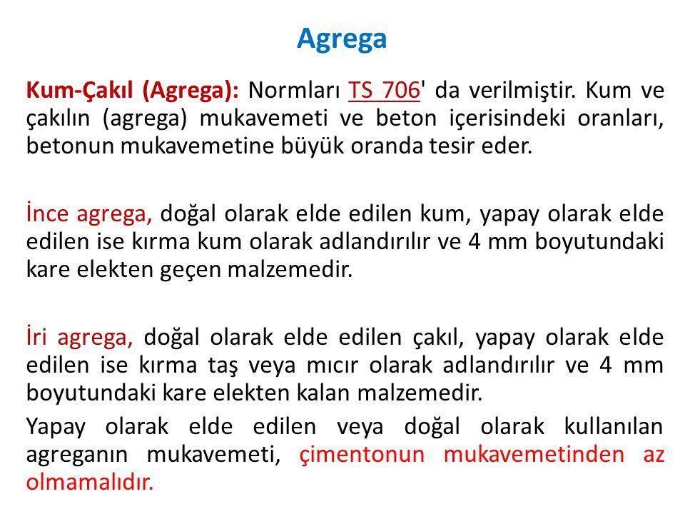 Kum-Çakıl (Agrega): Normları TS 706 da verilmiştir.