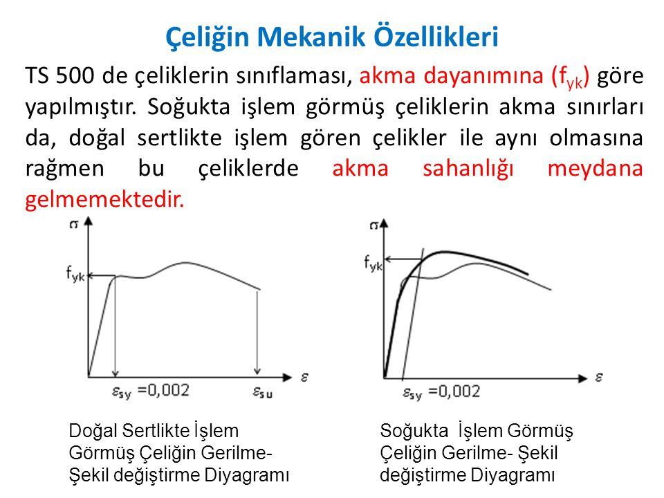 Doğal Sertlikte İşlem Görmüş Çeliğin Gerilme- Şekil değiştirme Diyagramı Soğukta İşlem Görmüş Çeliğin Gerilme- Şekil değiştirme Diyagramı TS 500 de çeliklerin sınıflaması, akma dayanımına (f yk ) göre yapılmıştır.
