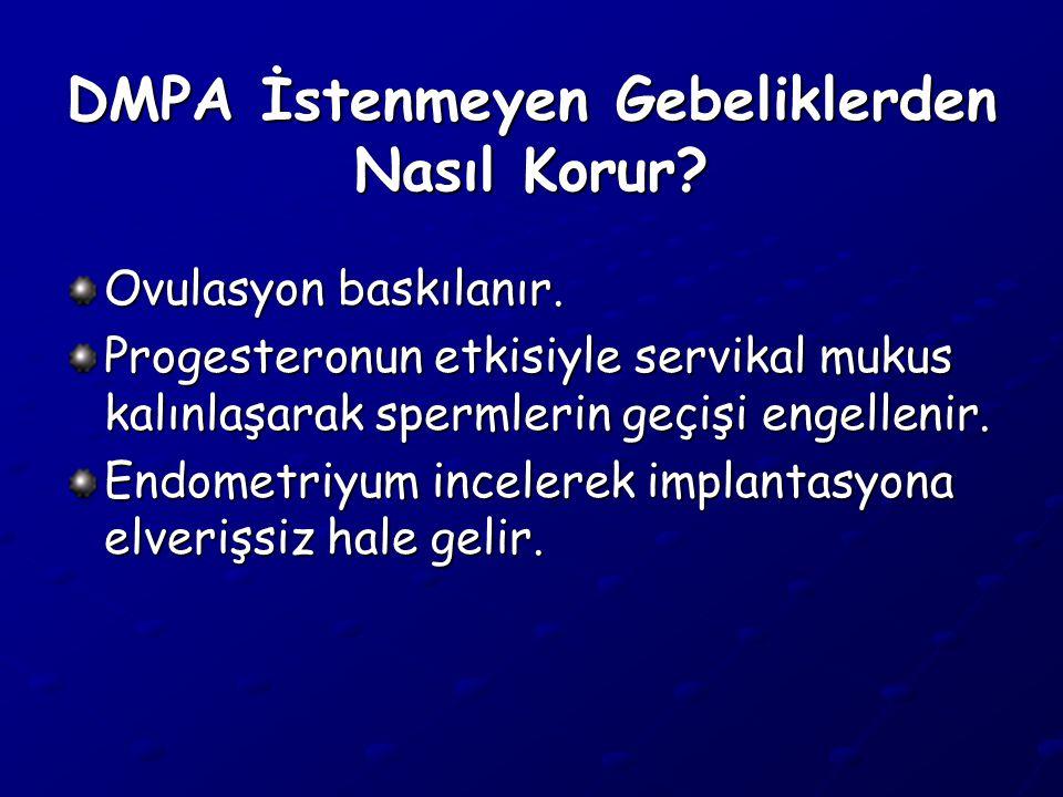 DMPA İstenmeyen Gebeliklerden Nasıl Korur.Ovulasyon baskılanır.