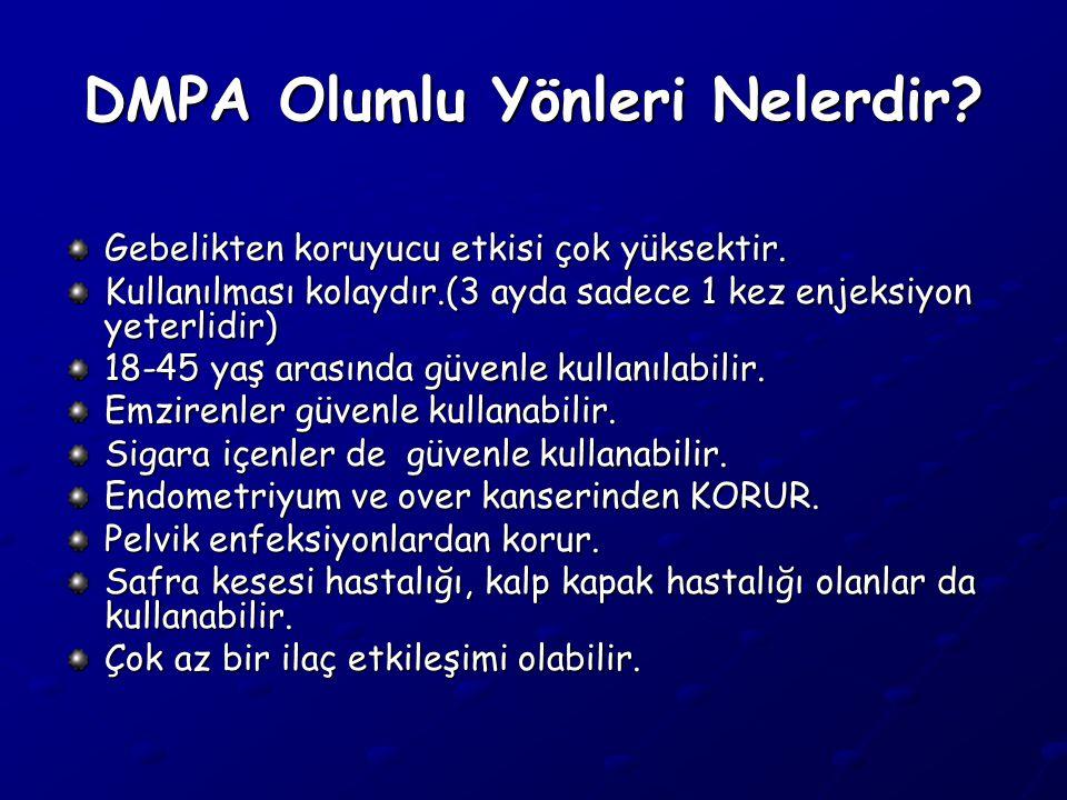 DMPA Olumlu Yönleri Nelerdir.Gebelikten koruyucu etkisi çok yüksektir.