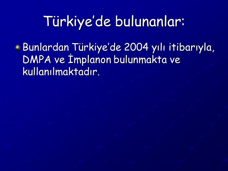Türkiye'de bulunanlar: Bunlardan Türkiye'de 2004 yılı itibarıyla, DMPA ve İmplanon bulunmakta ve kullanılmaktadır.