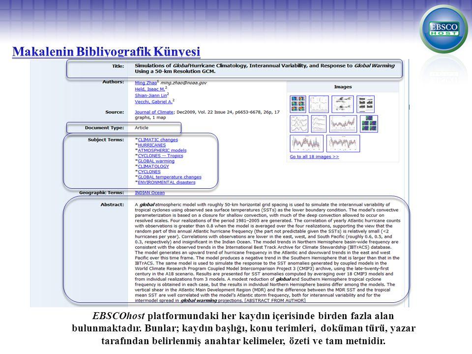 EBSCOhost platformundaki her kaydın içerisinde birden fazla alan bulunmaktadır.