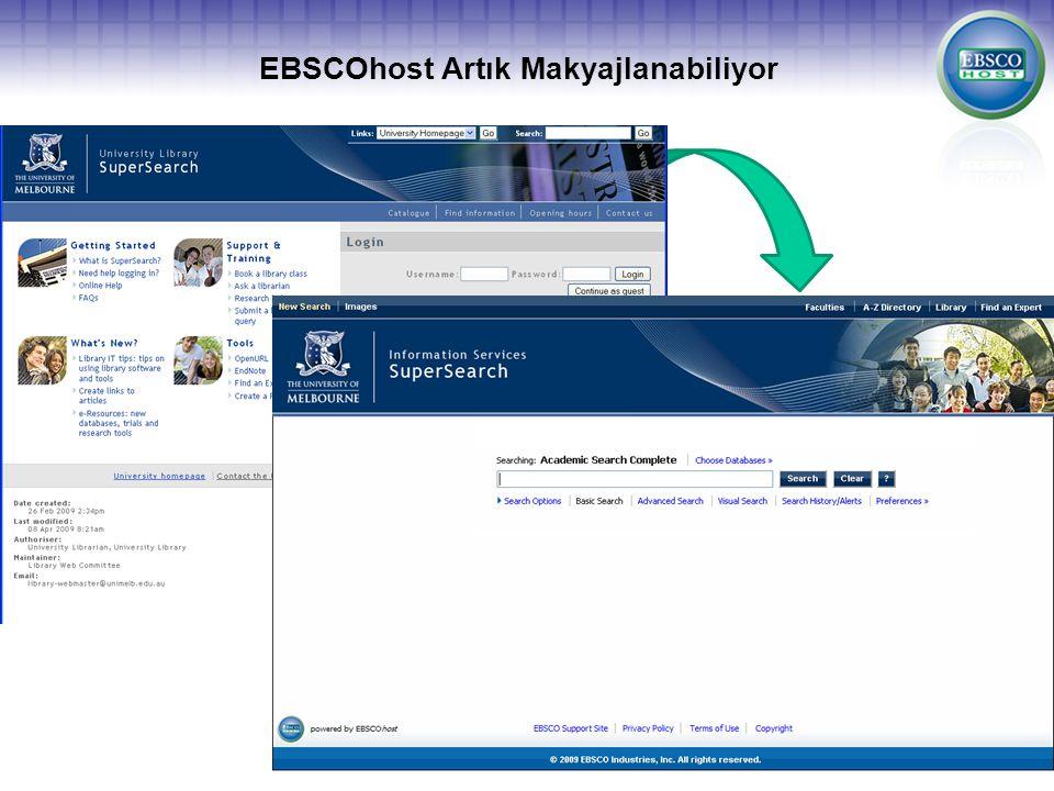 EBSCOhost Artık Makyajlanabiliyor EBSCOhost