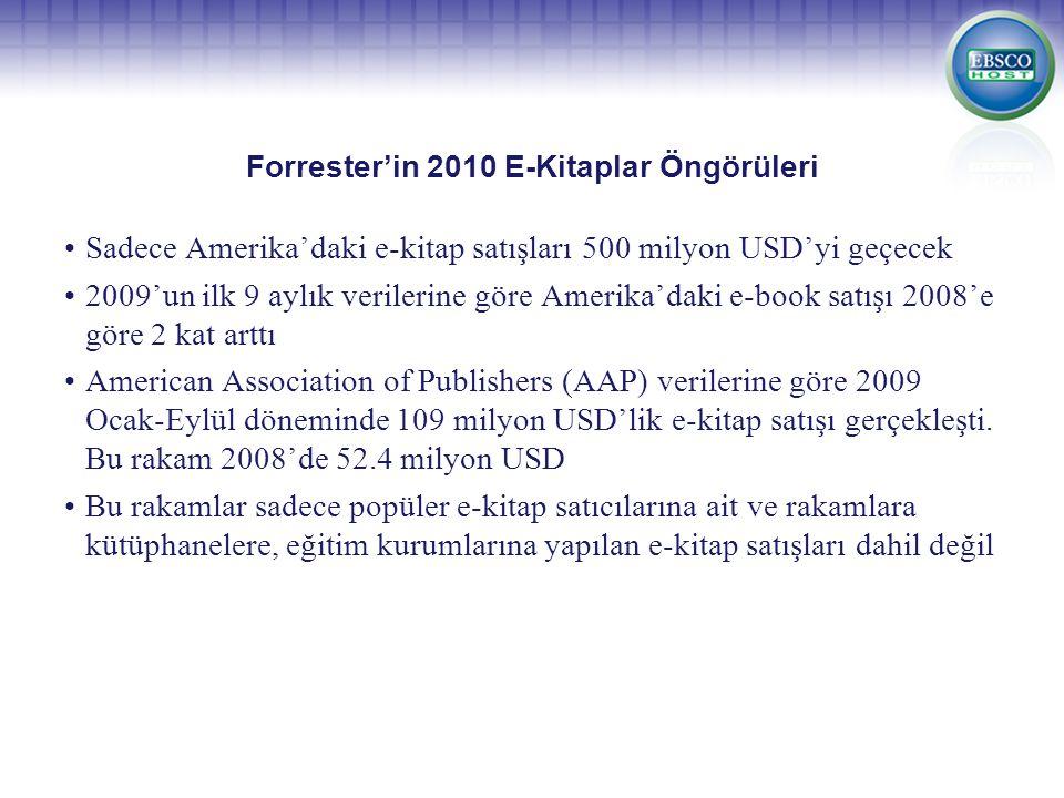 Forrester'in 2010 E-Kitaplar Öngörüleri Sadece Amerika'daki e-kitap satışları 500 milyon USD'yi geçecek 2009'un ilk 9 aylık verilerine göre Amerika'daki e-book satışı 2008'e göre 2 kat arttı American Association of Publishers (AAP) verilerine göre 2009 Ocak-Eylül döneminde 109 milyon USD'lik e-kitap satışı gerçekleşti.