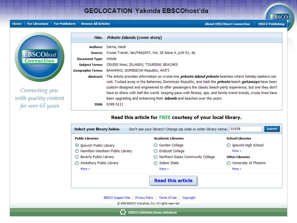 GEOLOCATION Yakında EBSCOhost'da