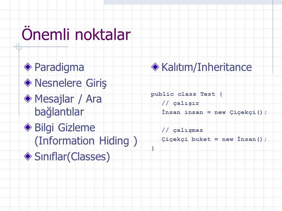 Önemli noktalar Paradigma Nesnelere Giriş Mesajlar / Ara bağlantılar Bilgi Gizleme (Information Hiding ) Sınıflar(Classes) Kalıtım/Inheritance public