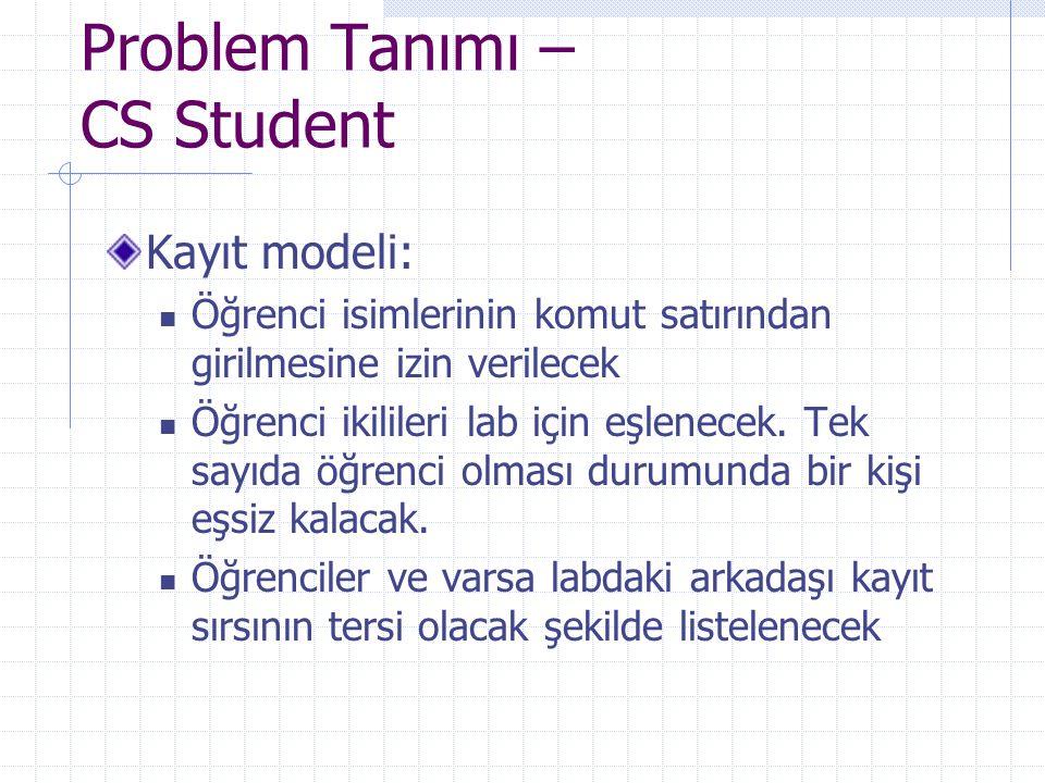 Problem Tanımı – CS Student Kayıt modeli: Öğrenci isimlerinin komut satırından girilmesine izin verilecek Öğrenci ikilileri lab için eşlenecek. Tek sa
