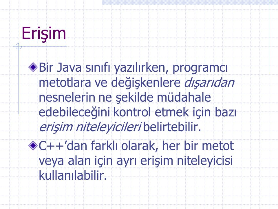 Erişim Bir Java sınıfı yazılırken, programcı metotlara ve değişkenlere dışarıdan nesnelerin ne şekilde müdahale edebileceğini kontrol etmek için bazı erişim niteleyicileri belirtebilir.
