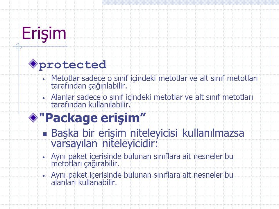 Erişim protected  Metotlar sadece o sınıf içindeki metotlar ve alt sınıf metotları tarafından çağırılabilir.