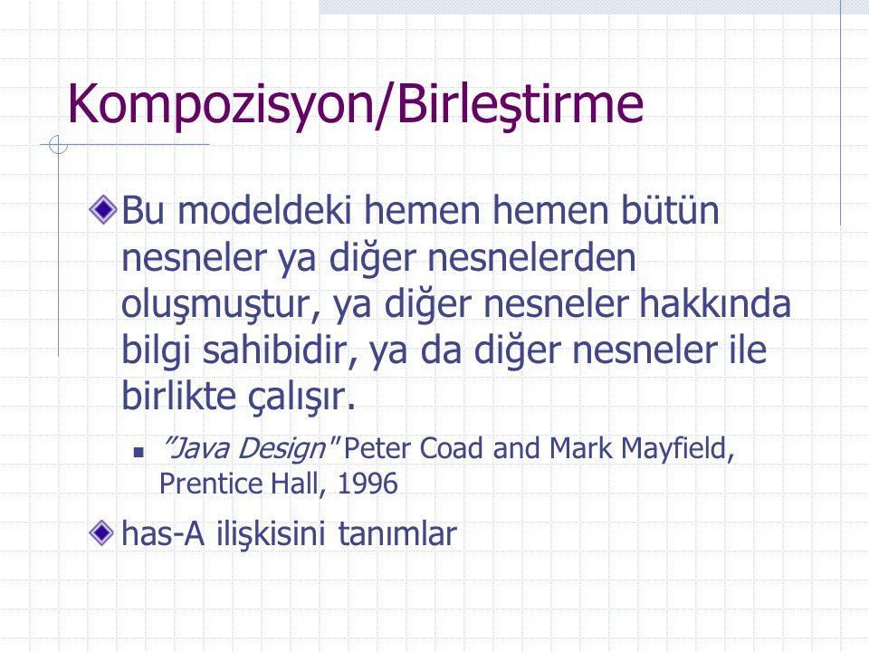 Kompozisyon/Birleştirme Bu modeldeki hemen hemen bütün nesneler ya diğer nesnelerden oluşmuştur, ya diğer nesneler hakkında bilgi sahibidir, ya da diğer nesneler ile birlikte çalışır.
