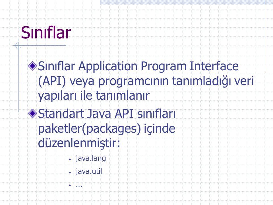 Sınıflar Sınıflar Application Program Interface (API) veya programcının tanımladığı veri yapıları ile tanımlanır Standart Java API sınıfları paketler(packages) içinde düzenlenmiştir:  java.lang  java.util ...