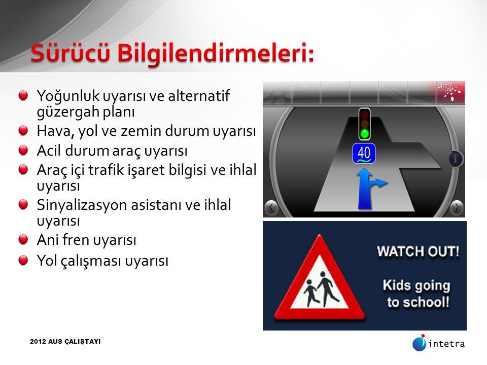 Yoğunluk uyarısı ve alternatif güzergah planı Hava, yol ve zemin durum uyarısı Acil durum araç uyarısı Araç içi trafik işaret bilgisi ve ihlal uyarısı