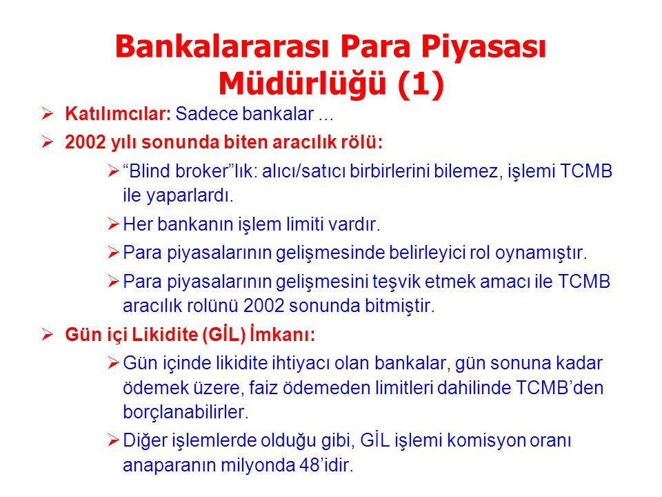TCMB Faiz Oranları ve Reel Faizler Merkez Bankası, enflasyondaki düşüş eğilimindeki olumlu gelişmeleri dikkate alarak faiz oranlarını gittikçe artan oranlarda indirmektedir … Merkez Bankası enflasyonun gelecekteki olası seyrini dikkate alarak, faizleri, 2002 yılında 6, 2003 yılında da 6 defa düşürmüş, düşürüş oranı 2003 yılında artan bir eğilim izlemiştir… Uzun vadeli DİBS faiz oranları ile Merkez Bankası'nın kısa vadeli faiz oranları arasında beklenenin aksine birebir ilişki yoktur … Uzun dönemli faiz oranları, istikrar programının nasıl uygulandığından, dolayısıyla, ekonomideki enflasyon ve özellikle borç çevirilebilirliği risklerinden etkilenmektedir … Son dönemdeki olumlu gelişmelere paralel olarak TCMB faizlerinin reel karşılığı en düşük düzeye inmiştir...