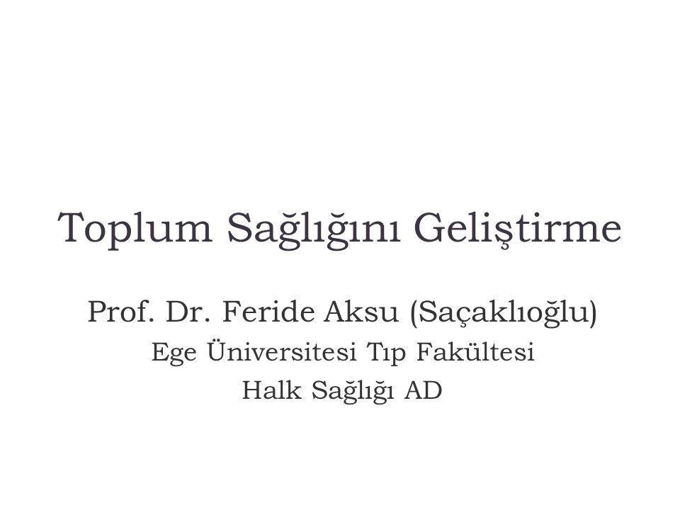 Toplum Sağlığını Geliştirme Prof. Dr. Feride Aksu (Saçaklıoğlu) Ege Üniversitesi Tıp Fakültesi Halk Sağlığı AD