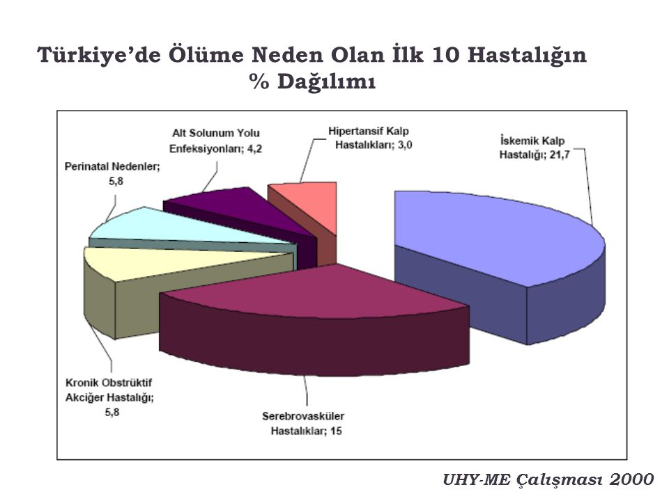 Türkiye'de Ölüme Neden Olan İlk 10 Hastalığın % Dağılımı UHY-ME Çalışması 2000