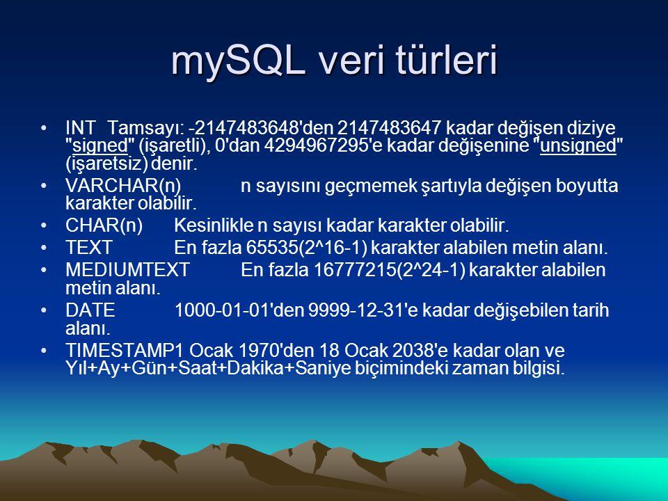 mySQL veri türleri INTTamsayı: -2147483648 den 2147483647 kadar değişen diziye signed (işaretli), 0 dan 4294967295 e kadar değişenine unsigned (işaretsiz) denir.