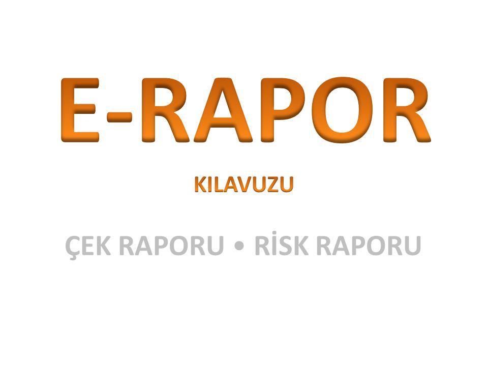 E-Rapor Nedir.Kendinize/Şirketinize Ait Risk/Çek Raporlarına Erişim 3.