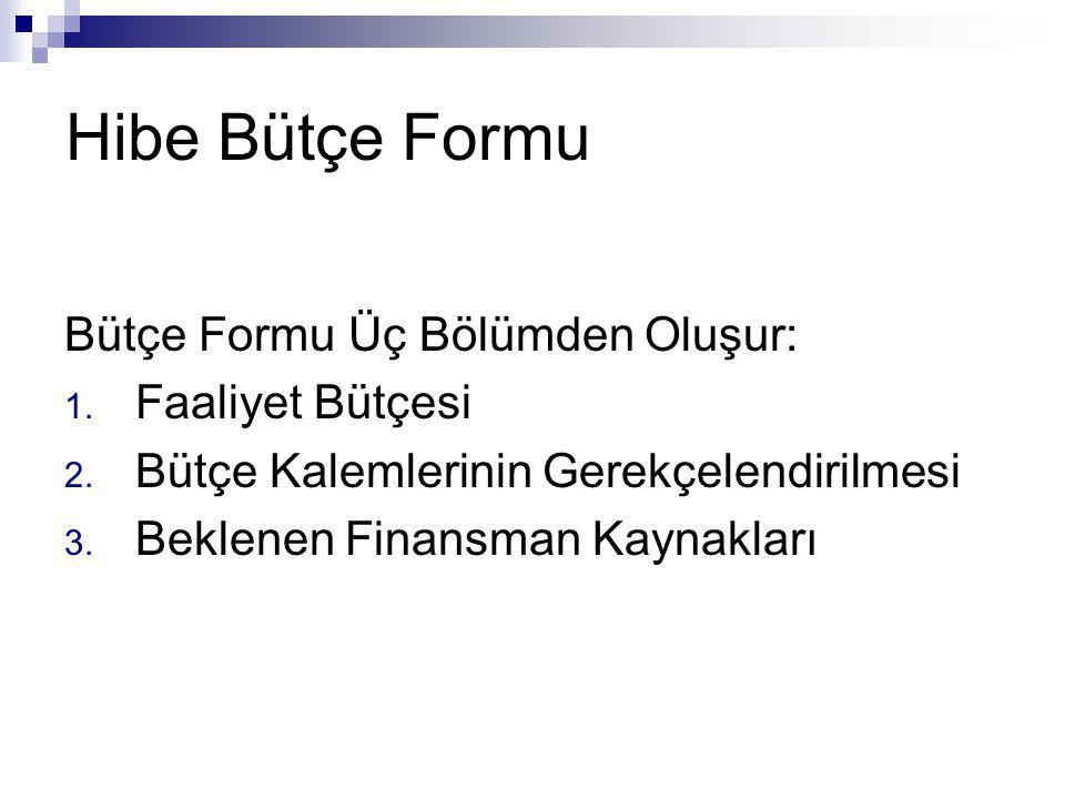 Hibe Bütçe Formu Bütçe Formu Üç Bölümden Oluşur: 1. Faaliyet Bütçesi 2. Bütçe Kalemlerinin Gerekçelendirilmesi 3. Beklenen Finansman Kaynakları
