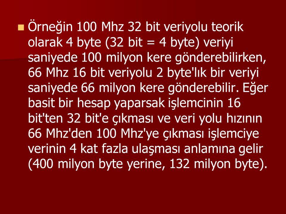 Örneğin 100 Mhz 32 bit veriyolu teorik olarak 4 byte (32 bit = 4 byte) veriyi saniyede 100 milyon kere gönderebilirken, 66 Mhz 16 bit veriyolu 2 byte'