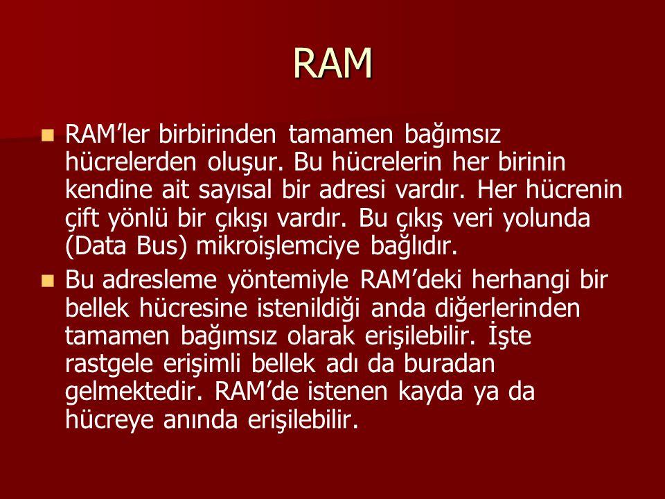 RAM RAM'ler birbirinden tamamen bağımsız hücrelerden oluşur. Bu hücrelerin her birinin kendine ait sayısal bir adresi vardır. Her hücrenin çift yönlü