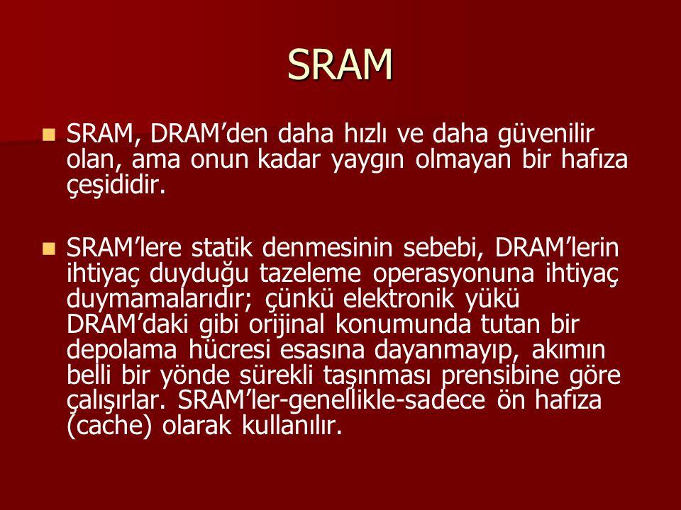 SRAM SRAM, DRAM'den daha hızlı ve daha güvenilir olan, ama onun kadar yaygın olmayan bir hafıza çeşididir. SRAM'lere statik denmesinin sebebi, DRAM'le