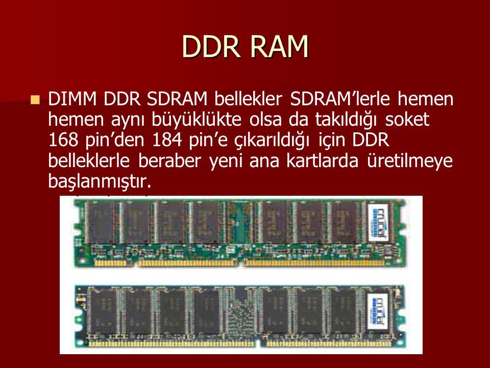 DDR RAM DIMM DDR SDRAM bellekler SDRAM'lerle hemen hemen aynı büyüklükte olsa da takıldığı soket 168 pin'den 184 pin'e çıkarıldığı için DDR belleklerl