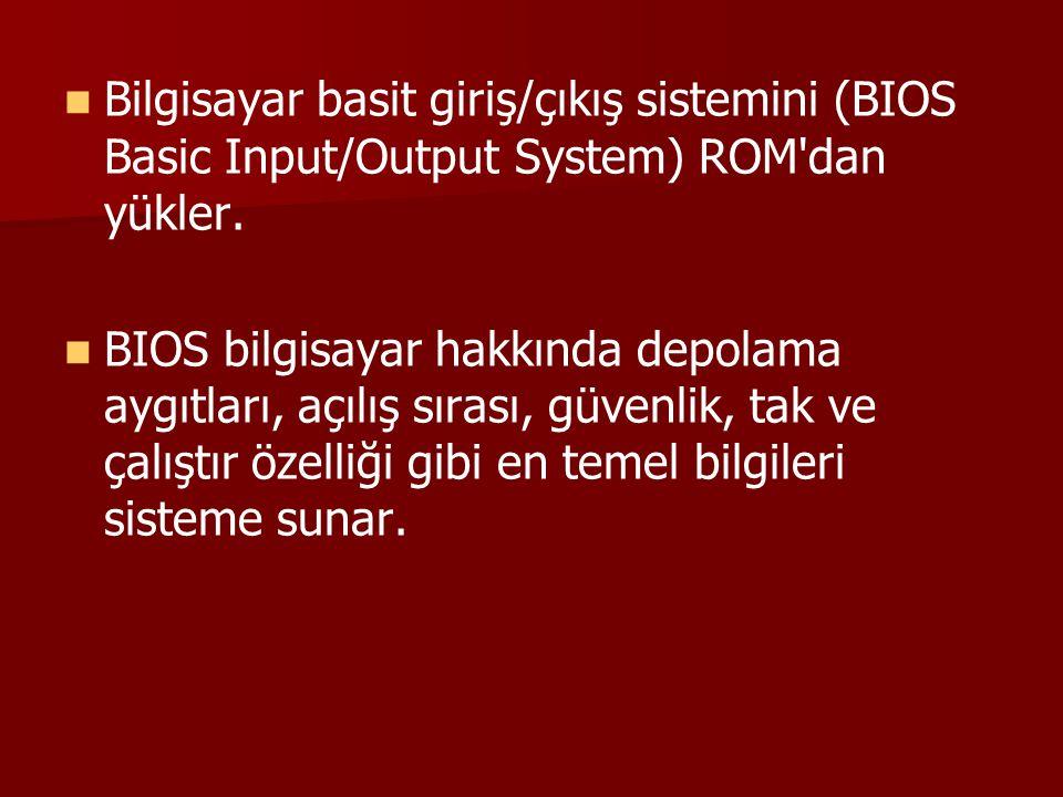 Bilgisayar basit giriş/çıkış sistemini (BIOS Basic Input/Output System) ROM'dan yükler. BIOS bilgisayar hakkında depolama aygıtları, açılış sırası, gü
