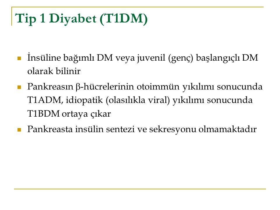 Tip 1 Diyabet (T1DM) İnsüline bağımlı DM veya juvenil (genç) başlangıçlı DM olarak bilinir Pankreasın  -hücrelerinin otoimmün yıkılımı sonucunda T1AD