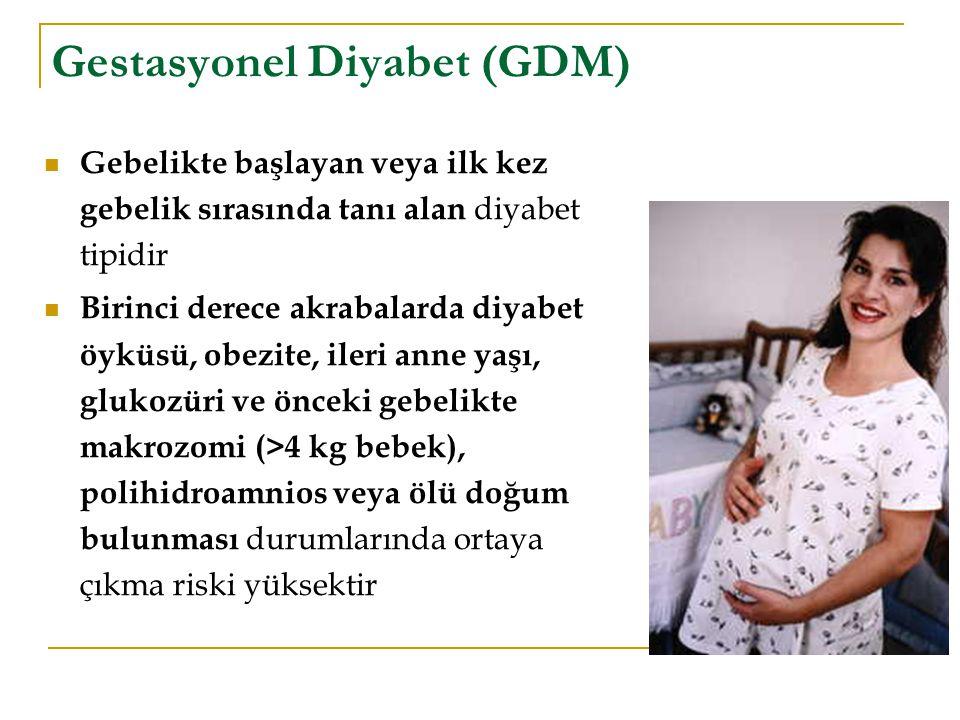 Gestasyonel Diyabet (GDM) Gebelikte başlayan veya ilk kez gebelik sırasında tanı alan diyabet tipidir Birinci derece akrabalarda diyabet öyküsü, obezi