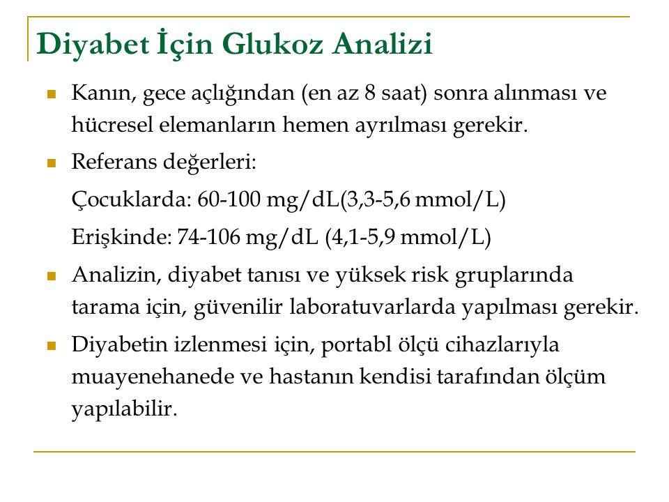Diyabet İçin Glukoz Analizi Kanın, gece açlığından (en az 8 saat) sonra alınması ve hücresel elemanların hemen ayrılması gerekir. Referans değerleri: