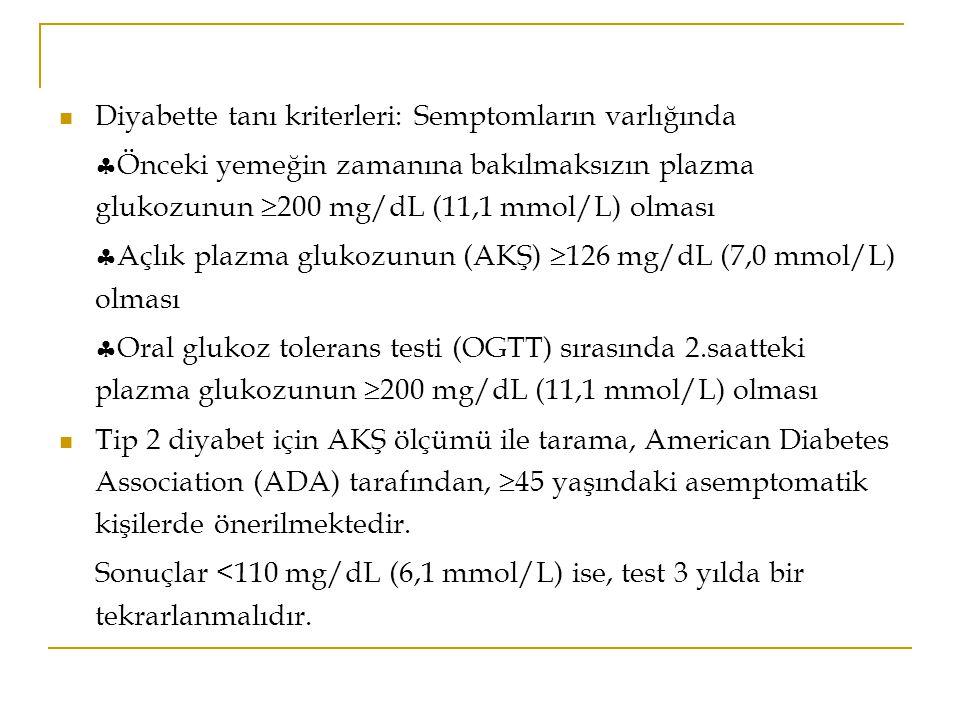Diyabette tanı kriterleri: Semptomların varlığında  Önceki yemeğin zamanına bakılmaksızın plazma glukozunun  200 mg/dL (11,1 mmol/L) olması  Açlık