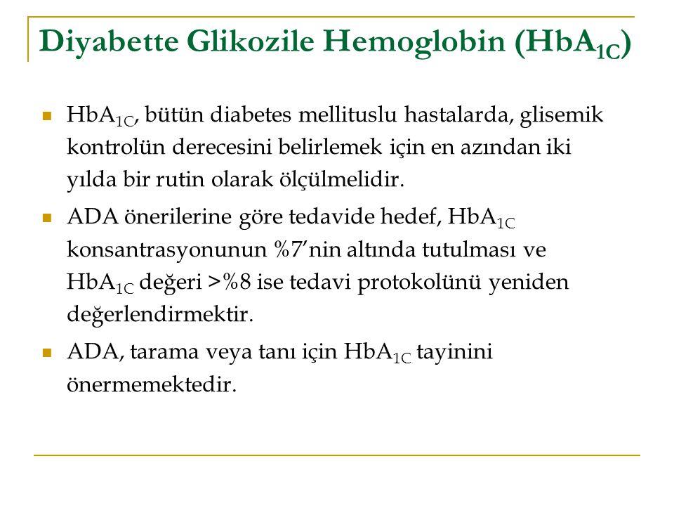 Diyabette Glikozile Hemoglobin (HbA 1C ) HbA 1C, bütün diabetes mellituslu hastalarda, glisemik kontrolün derecesini belirlemek için en azından iki yı