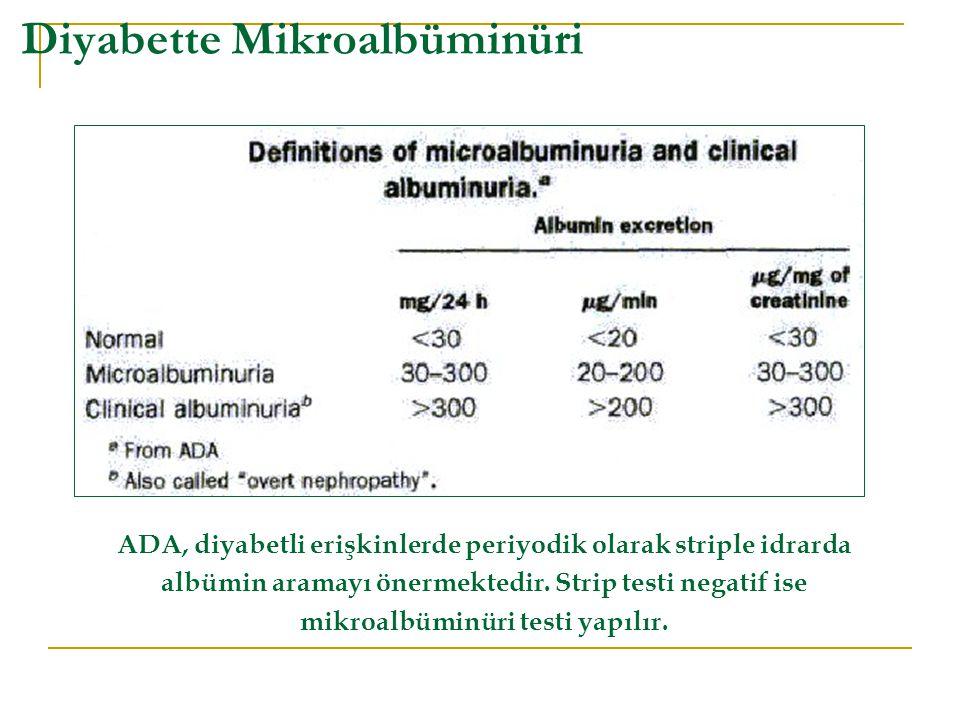 Diyabette Mikroalbüminüri ADA, diyabetli erişkinlerde periyodik olarak striple idrarda albümin aramayı önermektedir. Strip testi negatif ise mikroalbü