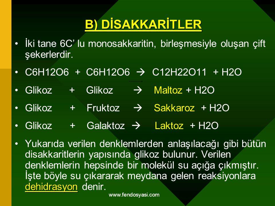 www.fendosyasi.com B) DİSAKKARİTLER İki tane 6C' lu monosakkaritin, birleşmesiyle oluşan çift şekerlerdir. C6H12O6 + C6H12O6  C12H22O11 + H2O Glikoz