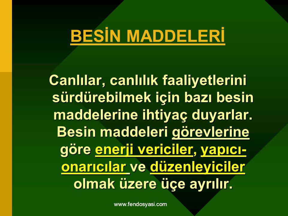 www.fendosyasi.com BESİN MADDELERİ Canlılar, canlılık faaliyetlerini sürdürebilmek için bazı besin maddelerine ihtiyaç duyarlar. Besin maddeleri görev