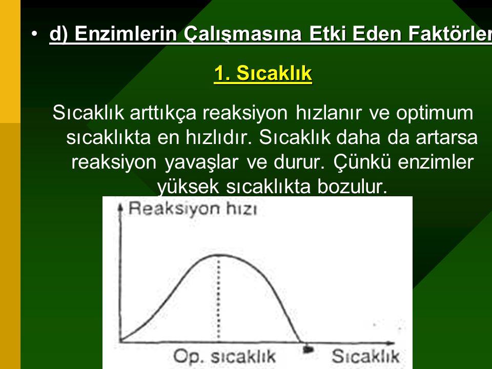 www.fendosyasi.com d) Enzimlerin Çalışmasına Etki Eden Faktörlerd) Enzimlerin Çalışmasına Etki Eden Faktörler 1. Sıcaklık Sıcaklık arttıkça reaksiyon