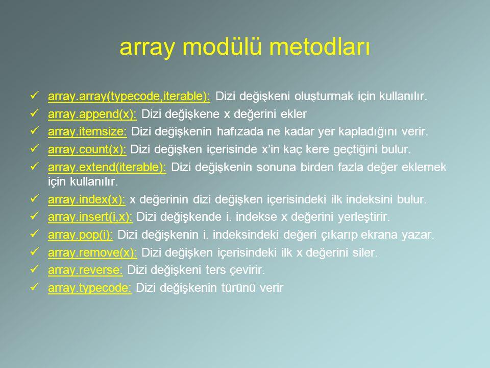 array modülü metodları array.array(typecode,iterable): Dizi değişkeni oluşturmak için kullanılır. array.append(x): Dizi değişkene x değerini ekler arr