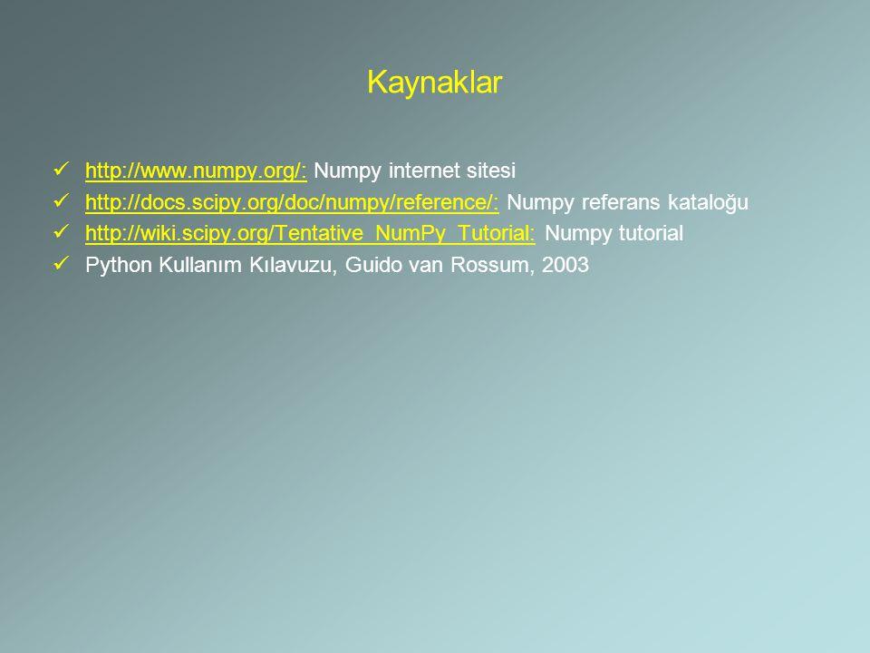 Kaynaklar http://www.numpy.org/: Numpy internet sitesi http://docs.scipy.org/doc/numpy/reference/: Numpy referans kataloğu http://wiki.scipy.org/Tenta