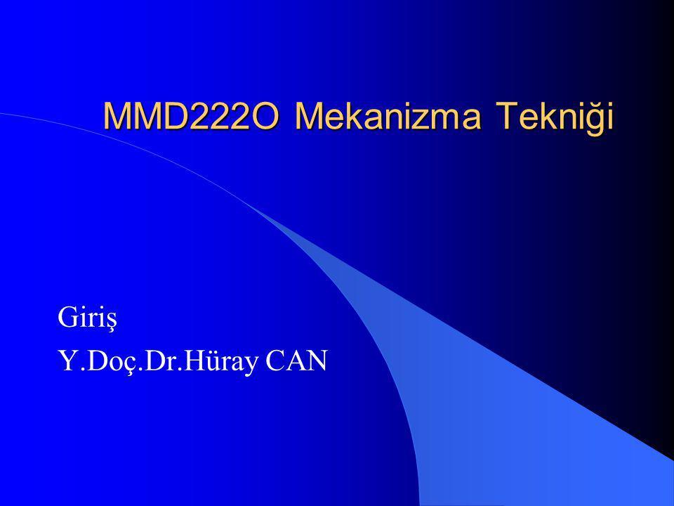 MMD222O Mekanizma Tekniği Giriş Y.Doç.Dr.Hüray CAN