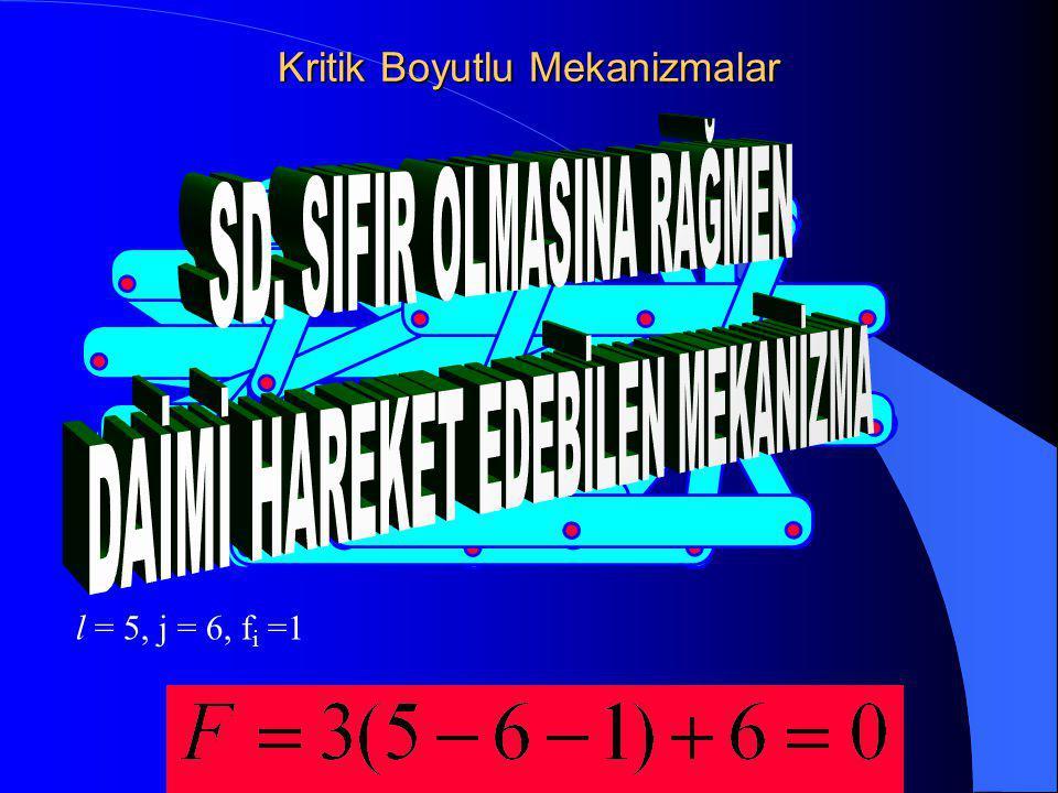 Kritik Boyutlu Mekanizmalar l = 5, j = 6, f i  =1